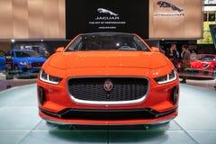 Jaguar i-PACE electric car. PARIS - OCT 2, 2018: Jaguar i-Pace car showcased at the Paris Motor Show royalty free stock photography
