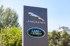 Jaguar Land Rover dealership sign Royalty Free Stock Photo