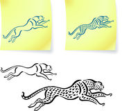 Jaguar and leopard drawings on post it notes.  Stock Photos