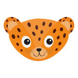 Jaguar Leopard head. Wild cat smiling face. Orange panther with spot. Cute cartoon character. Baby animal collection. Childish dra Stock Images