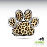 Jaguar leopard paw button Stock Image