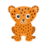 Jaguar Leopard sitting. Wild cat smiling face. Orange panther with spot. Cute cartoon character. Baby animal collection. Childish drawing. Isolated. White vector illustration