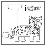 Jaguar, letter J coloring page Royalty Free Stock Photos