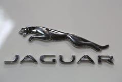 Jaguar loga kruszcowy zbliżenie na Jaguar samochodzie obraz stock
