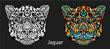Jaguar a mano con el modelo étnico del garabato ilustración del vector