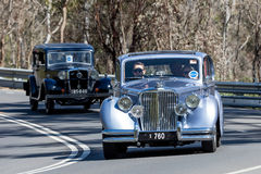 1951 Jaguar Mark V Coupe. Adelaide, Australia - September 25, 2016: Vintage 1951 Jaguar Mark V Coupe driving on country roads near the town of Birdwood, South Stock Photography