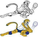 Jaguar Mascot Playing Volleyball夫人 库存图片