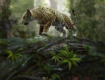 Jaguar na grasującym, 3d CG Obrazy Stock