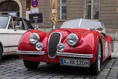 Jaguar oldtimer car. Augsburg, Germany - October 1, 2017: Jaguar oldtimer car at the Fuggerstadt Classic 2017 Oldtimer Rallye on October 1, 2017 in Augsburg Royalty Free Stock Images