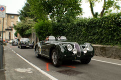 Jaguar parade during Bergamo Historic Grand Prix 2015 Royalty Free Stock Photo