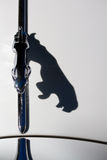 Jaguar's Cat Shadow. The shadow of the emblem of Jaguar cars, the Leaping Cat, on the white hood of a classic 1960s Jaguar car. Image has negative space Royalty Free Stock Photography
