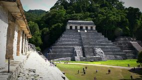 Jaguar's Temple and The Palace in the Palenque archeological zone. CHIAPAS, MEX-CIRCA AUGUST 2018 (PAN RIGHT-FULL SHOT): Jaguar's Temple and stock video footage