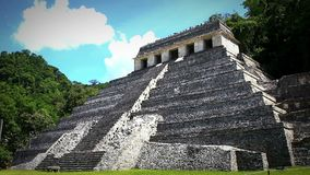 Jaguar`s Temple in the Palenque archeological zone. CHIAPAS, MEX-CIRCA AUGUST 2018: Jaguar`s Temple in the Palenque archeological zone. This is one of the most stock video
