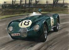 Jaguar som är tävlings- på Le Mans Royaltyfri Foto