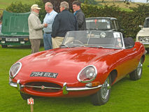 Jaguar Sports car at Fortrose.. An image of a sleek red Jaguar Sports car with the hood down  at Fortrose Classic Car Rally on 25th August 2010 Stock Photo