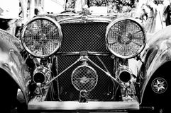 The Jaguar SS 100 Roadster (Black and White). BERLIN - MAY 28: The Jaguar SS 100 Roadster (Black and White), the exhibition 125 car history - 125 years of Royalty Free Stock Images