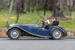 1940 Jaguar SS Drophead coupe. Adelaide, Australia - September 25, 2016: Vintage 1940 Jaguar SS Drophead coupe driving on country roads near the town of Birdwood Stock Image