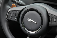 Jaguar steering wheel Royalty Free Stock Images