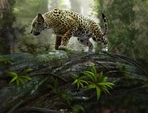 Jaguar sul vagare in cerca di preda, 3d CG Immagini Stock