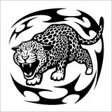 Jaguar Tribal Tattoo. Isolated on white. Vector illustration Royalty Free Stock Photo