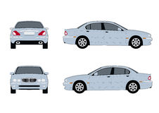 Jaguar x-type 2004. Front, back and side view of a Jaguar X-type Stock Photo