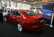Jaguar XF angezeigt an der 3. Ausgabe von MOTO-ZEIGUNG in Krakau lizenzfreie stockfotografie