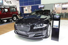 Jaguar XJ car on display Stock Photos