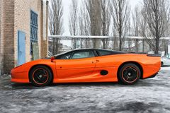 January 3, 2013; Kiev, Ukraine. Jaguar XJ220 on winter road. hypercar. Winter royalty free stock images
