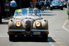 Jaguar XK120 in Mille Miglia 2016 Royalty-vrije Stock Foto's