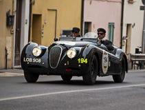 Jaguar XK 120 open tweepersoonsautosporten 1950 Stock Foto