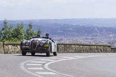 Jaguar XK 120 OTS driven by Hoy Chris and Wallace  Royalty Free Stock Photo