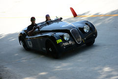 1950 Jaguar XK 120 OTS Sports at the Mille Miglia. Monza circuit hosted a stage of the 2016 Mille Miglia stock photo