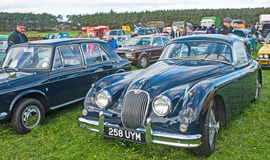 Jaguar XK 150. A pristine Jaguar XK 150 on display at the Roseisle classic car meeting held on 25th September 2016 stock photography