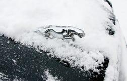 Jaguarautosymbol im Schnee lizenzfreie stockbilder