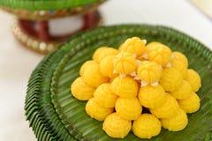 Jah Mong Kut - Egg Yolks Dumpling in Wheat Flour Crown - Thai traditional dessert Royalty Free Stock Image