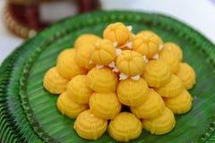 Jah Mong Kut - Egg Yolks Dumpling in Wheat Flour Crown - Thai traditional dessert Stock Photos