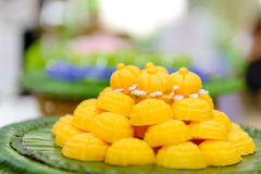 Jah Mong Kut - Egg Yolks Dumpling in Wheat Flour Crown - Thai traditional dessert Royalty Free Stock Photo