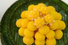Jah Mong Kut - Egg Yolks Dumpling in Wheat Flour Crown - Thai traditional dessert Royalty Free Stock Photography