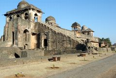 Jahaz Mahal Ship Palace at Mandu. India, Mandu: the Jahaz Mahal or the Ship Palace, constructed in the 15th century, is the piece de resistance of the Royal stock image