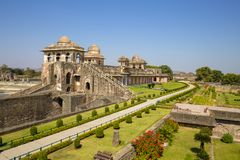 Jahaz Mahal , Ship Palace in sunrise. Mandu, Madhya Pradesh. India. Old Indian architecture on the background stock image