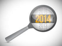 Jahr 2014 über einem Vergrößerungsglas. Illustration Lizenzfreie Stockfotografie