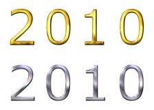 Jahr 2010 3D golden und silbern Stockbilder