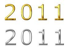 Jahr 2011 3D golden und silbern Lizenzfreies Stockfoto
