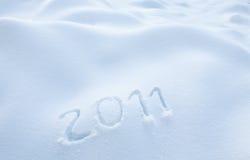 Jahr 2011 im Schnee Stockbild