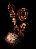 Jahr 2011 vertikal und Feuerwerke Lizenzfreie Stockbilder