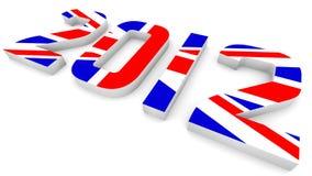 Jahr 2012 in der britischen Markierungsfahne für Olympische Spiele Stockbilder