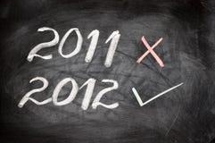 Jahr 2012 geschrieben auf eine Tafel Lizenzfreie Stockfotos