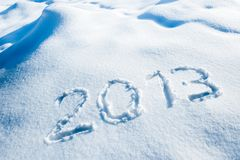Jahr 2013 im Schnee Stockfoto