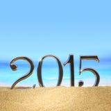 Jahr 2015 auf dem Strand Stockfotos