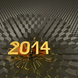 Jahr 2014 auf metallischem sechseckigem Hintergrund Lizenzfreie Stockfotos